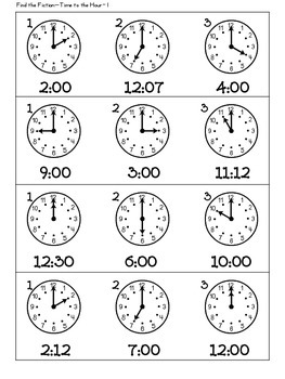Time to hour and half hour Find the Fib, Read the Room, and Match!!