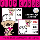 Time to the Five Minutes Clip Cards Valentine's Dog Themed