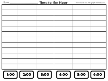 Time to the HOUR and HALF HOUR- Roll and Graph (Dice Game)
