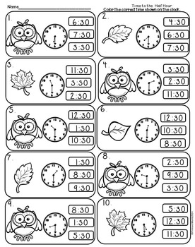 Time to the Half Hour Fall Theme Common Core Print and Go!