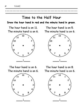 Time to the Half Hour - Write the Time