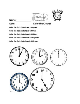 Time to the Hour: Color the Clocks