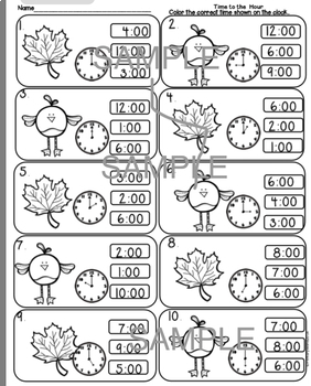Time to the Hour Fall Activities, Print and Go! Common Core