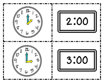 Time to the Hour & Half Hour Bundle Pack~ What Time Is It? Match Game/Worksheets