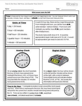 Time to the Hour, Half Hour & Quarter Hour FREEBIE pgs. 1 - 4 (CCSS)