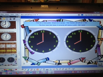 Time to the Hour & Half Hour grade 1 CCSS 1.MD.3 ActivInspire Flipchart