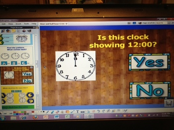 Time to the Hour & Half Hour grade 1 CCSS 1.MD.3 ActivInsp