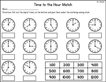 Time to the Hour Match FREEBIE!