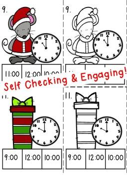 Time to the Hour Task Cards- Christmas Theme