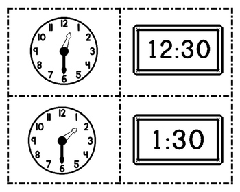 Time to the Half Hour ~ What Time Is It? Match Game/Worksheets