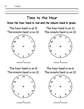 Time to the Hour - Write the Time