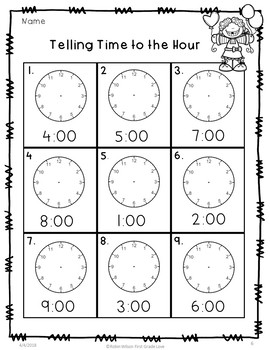 Time to the Hour and Half Hour First Grade Free Sample
