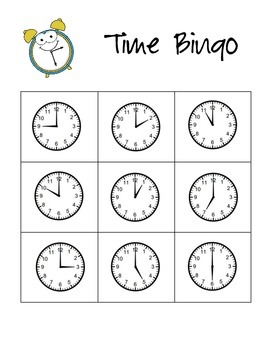 Time to the Hour and Half Hour Bingo!