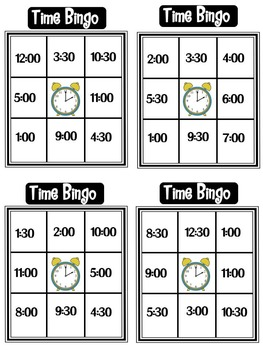 Time to the Hour and Half Hour Bingo