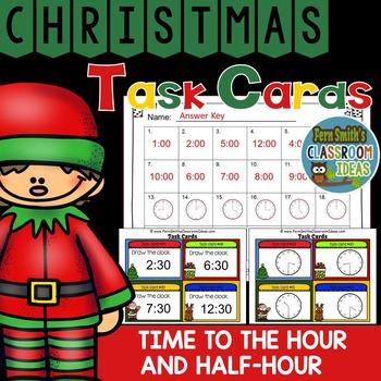 Christmas Time to the Hour and Half-Hour Task Cards