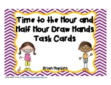 Time to the Hour and Half Hour Drawing Hands on Clock Task Cards