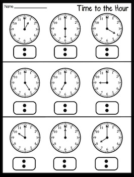 Time to the Hour and Half Hour Practice Packet