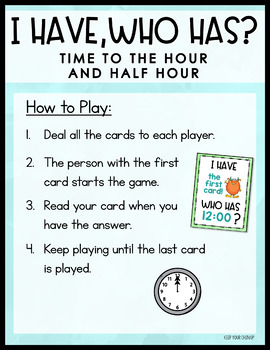 Time to the Hour and Half Hour - an I Have Who Has? Game