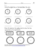 Time to the Hour/Half Hour Common Core Aligned Assessment