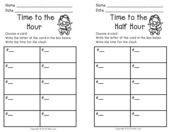 Time to the Hour/Half Hour Task Cards