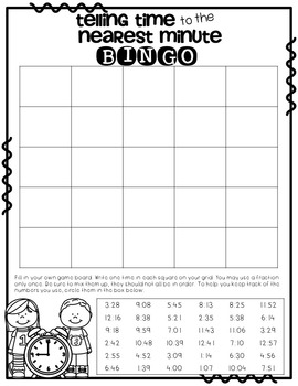Telling Time to the Minute No-Prep PowerPoint BINGO Game