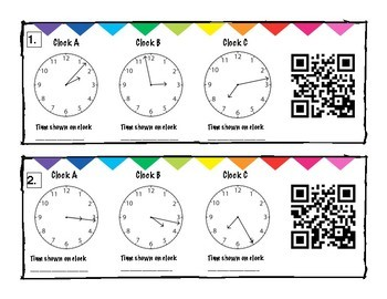 Time to the Minute Task Cards/QR Codes
