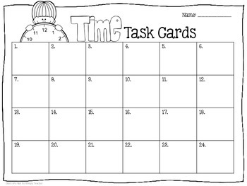 Time to the Minute Task Cards- Color & B&W