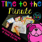 Time to the Minute Task Cards with Dog Riddles plus time matching cards