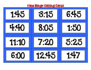 Time to the Nearest Minute Bingo