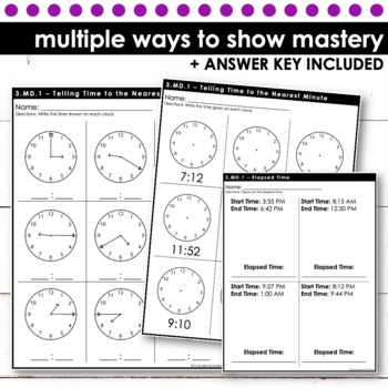 Time to the Nearest Minute; Elapsed Time - Third Grade Print and Go