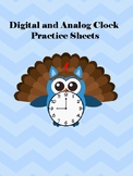 """Time to the """"Owler""""- Thanksgiving clock/time practice and"""