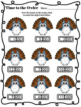 """Time to the """"Owler""""- Thanksgiving clock/time practice and flashcards"""