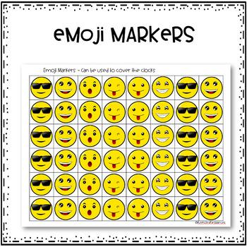 Time to the Quarter Hour Bingo - Emoji Style