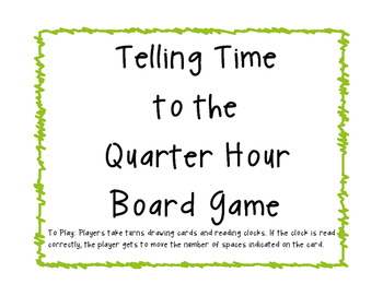 Time to the Quarter Hour Board Game