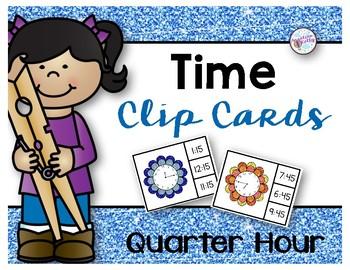 Time to the Quarter Hour Clip Cards