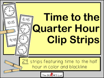 Time to the Quarter Hour Clip Strips