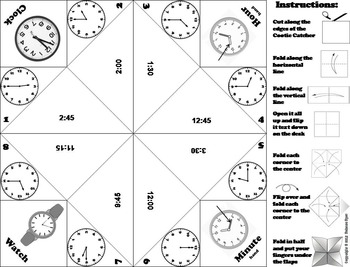 Telling Time to the Quarter Hour Game/ Telling Time to the Quarter Hour Activity