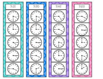 Time to the Quarter Hour Strip Clip Cards - Version 1