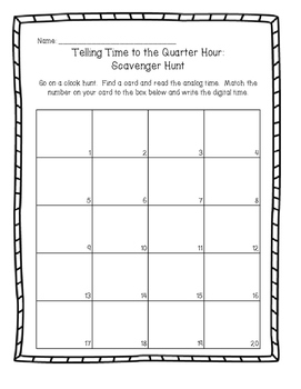Time to the Quarter Hour: Write the Room Activity