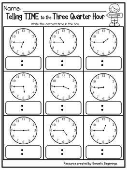 Telling Time to the Three Quarter Hour (:45)  NO PREP Printables
