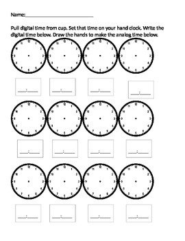 Time to the hour and half hour center answer sheet
