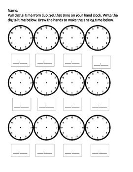 Time to the hour and half hour partner/math center packet