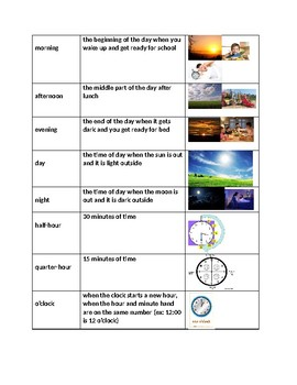 Time vocabulary and spelling