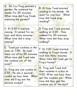 Time with Frog and Toad (time number line)