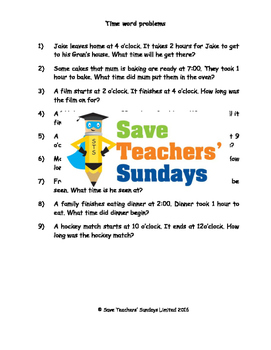 Time word problems worksheets (4 levels of difficulty)