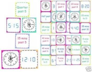 Time/Clock Matching Cards