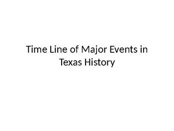 TimeLine of Major Events in Texas Hisotry