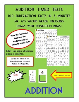 Timed Addition Sheets with Correcting pages