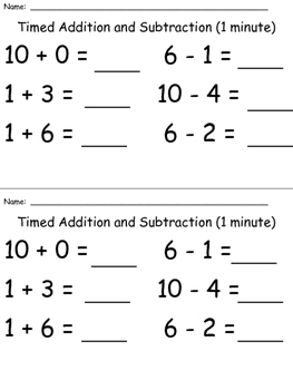 Timed Addition and Subtraction - Kindergarten