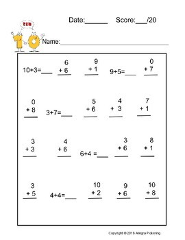 Timed Addition for Kindergarten and First Grade